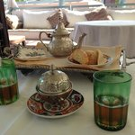 Moroccan green mint tea service on the rooftop terrace.