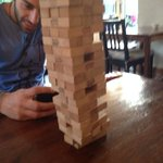 Me and my mate Andy playing Jenga in the hostel