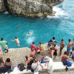 Cliff jumpers at Rick's Cafe, Negril