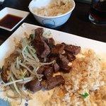 Beautiful steak stir fry and egg fried rice