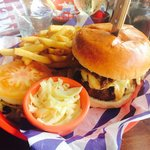 Burger topped with braised beef! Delish ��