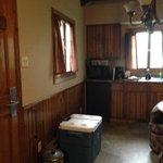 mini frige in the Sylvan Lake Lodge housekeeping cabin