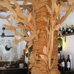wooden tree sculpture...very interesting touch