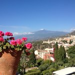The stunning view of Mt Etna from the Timeo terrace