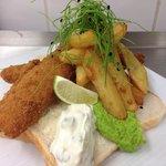 Homemade fish finger sandwich £3.25