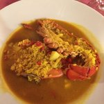 Creamy rice w/lobster. Yummy.