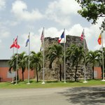 Outside of Cruzan are the seven flags which have flown over St. Croix