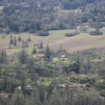 A view of Tintoela (red roof) from Mt Pitt, nestled in beautiful surrounds.