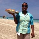 Fruit kabob served on beach