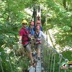 On the suspension bridge.