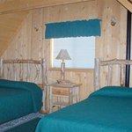 Upstairs Window, Nightstand, and Queen Beds