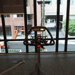 Spin bikes & the view in the fitness room