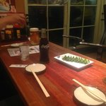 Just before Gyoza arrive.  You make your own sauce!