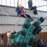 Crates stack is one of the many high ropes. see how high you can get without falling off.