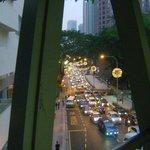 View of road below from the KLCC-Bukit Bintang walkway
