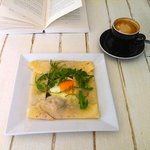 Bacon, mushrooms, egg, folded in a light crepe, with flat white and a book. Perfect!
