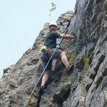 Having fun on a beginner's rock climbing day