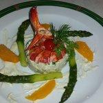 Remoulade asperges et homard.vinaigrette d agrumes.