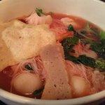 Tofu, fish cake balls, choy sum, & rice noodle
