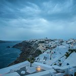 View from our terrace - stormy Santorini has a certain charm