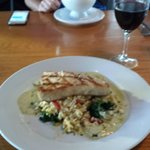 Swordfish over Orzo with calmatta olives, spinach and fetta