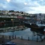 Evening view of Brixham from Crab Quay Restaurant