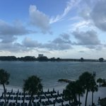 Beautiful view from a beachfront room balcony. But not ideal for sunrise/sunsets.