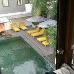 View of pool from room, pool clean has greenish tiles so looks a little different