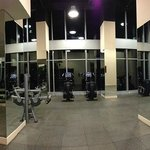 large gym on 11th floor with windows