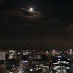Moonrise over Tokyo from bedroom balcony