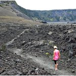 A view of the trail along the crater floor.