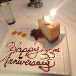 Complimentary Cheesecake for our 33rd anniversary!