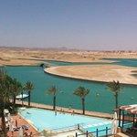 vue d'une partie de la piscine et du désert de notre chambre
