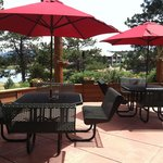 Outside seating with a view of Elk Meadow Park!