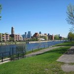 skyline with Atwater market form the South side of the Lachine canal