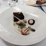Pork belly with scallop wrapped in bacon