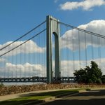 Beautiful clouds behind bridge while walking in Fort Wadsworth