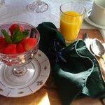 Breakfast fruit course... watermelon