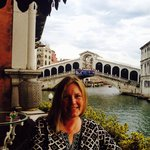 Beautiful balcony views of Rialto bridge and canal