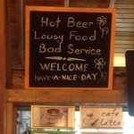 Funny little sign decorating the bar