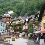 Houses built into the mountains in Hallstatt