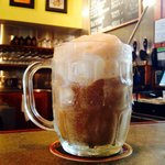 Root beer float, made with Chocolate Moose ice cream and root beer from Bloomington Brewing Comp