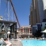 Sitting pool right under the roller coaster