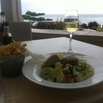 Parmesan fries, salad and wine... with a view.