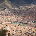 View of Cusco from above. The hotel is located on the upper right corner of plaza in center of p