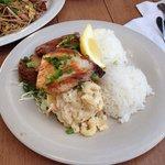 Teriyaki chicken and grill mahi mahi