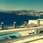 Pool and Mykonos Town from balcony