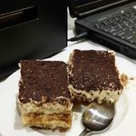 Tiramisu.I took 2 pieces after I had eaten 2 pieces. So GOOOOOD