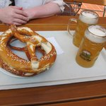 Apple Wheat Beer and Pretzels