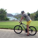 Biking the property at the resort